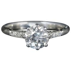 Antique Edwardian 1.30 Carat Diamond Platinum Engagement Ring
