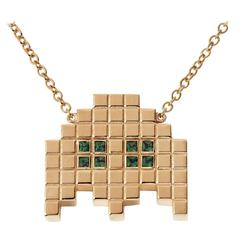 Francesca Grima Yellow Gold and Emerald Invader II Necklace