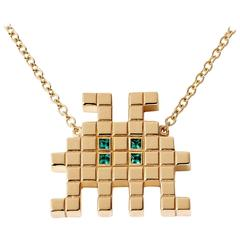 Francesca Grima Yellow Gold and Emerald Invader III Necklace