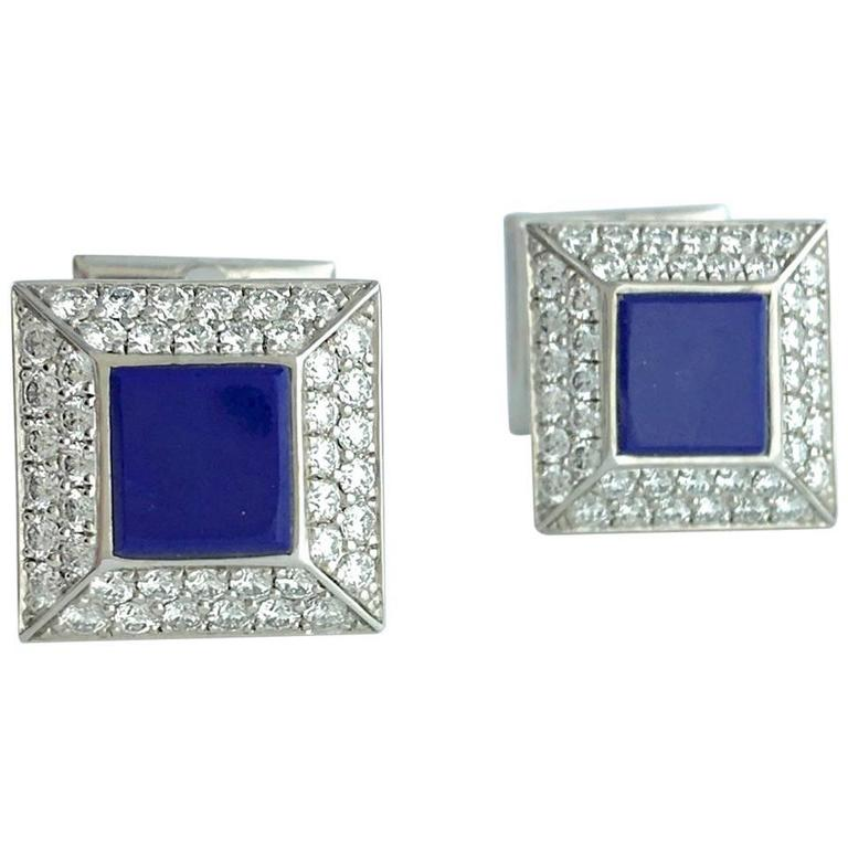 Lapis Lazuli Diamond White Gold Cufflinks