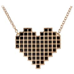 Francesca Grima Rose Gold Reversible Pixel Heart Necklace in Carbon Snow Enamel