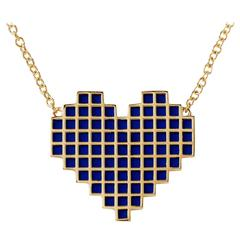 Francesca Grima Yellow Gold and Enamel Reversible Pixel Heart Necklace