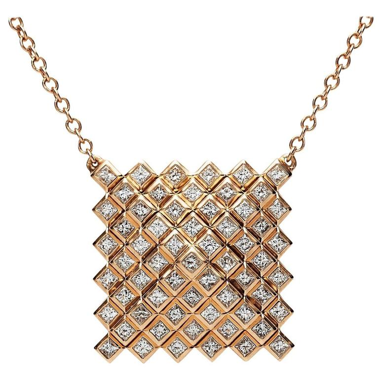 Francesca Grima Rose Gold and Diamond Pyramid Pixel Necklace 1
