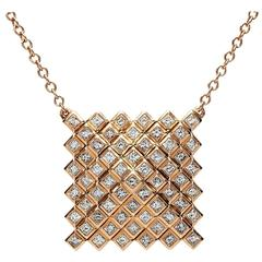 Francesca Grima Rose Gold and Diamond Pyramid Pixel Necklace