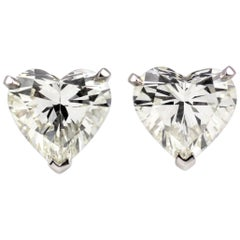 Julius Cohen 6.22 Carat Heart Shaped Diamond Earrings