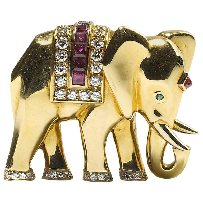 Cartier Emerald Ruby Diamond Gold Elephant Brooch