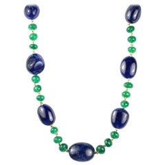 Julius Cohen Sapphire and Emerald Bead Necklace