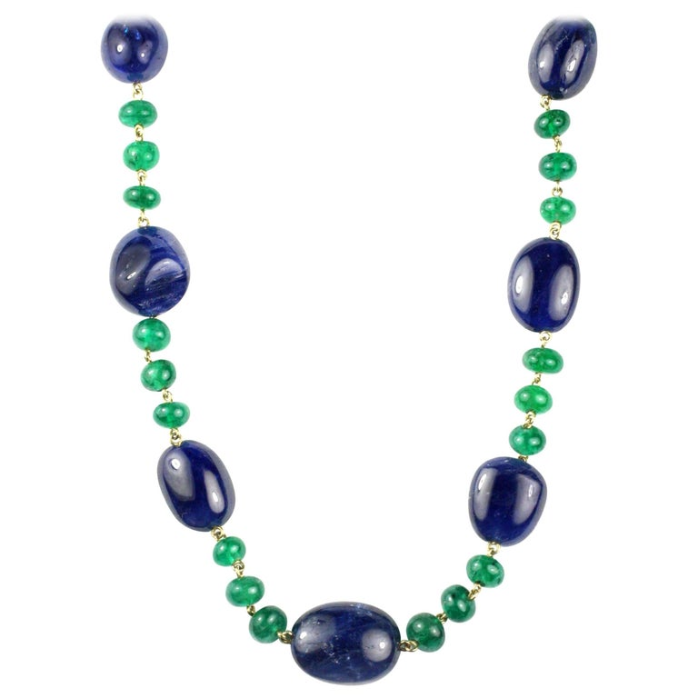 Julius Cohen Sapphire and Emerald Bead Necklace 1
