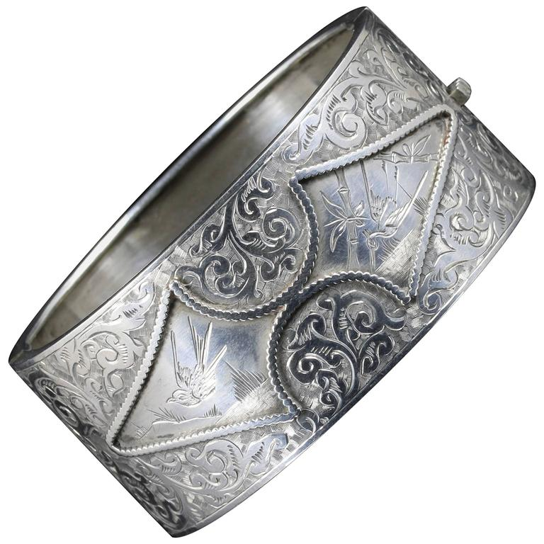 Antique Victorian Silver Bangle, circa 1880