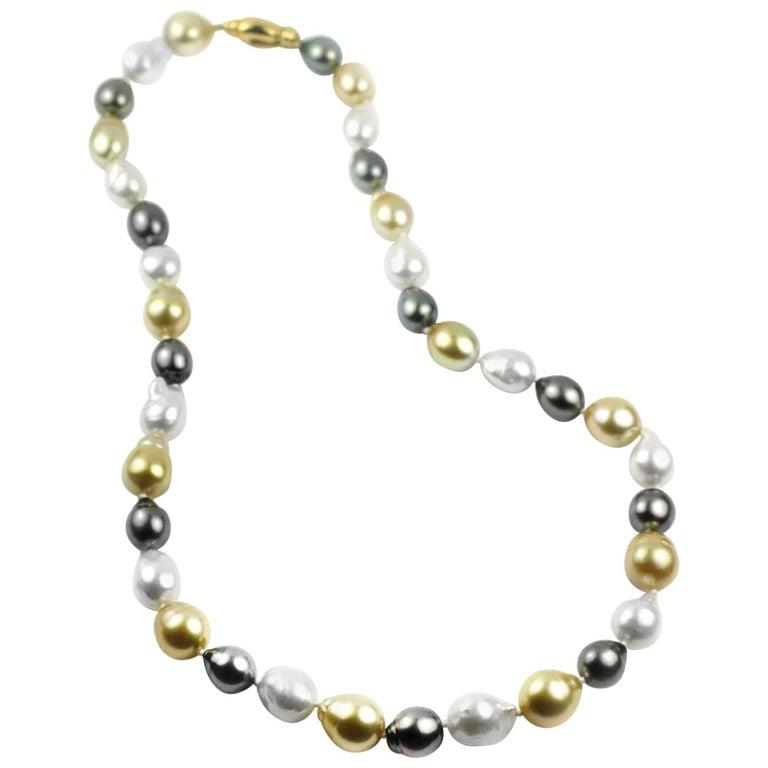 Julius Cohen Multi-Color Baroque Pearl Necklace