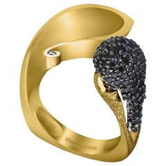 Alex Soldier Diamond Yellow Gold Textured Ring Limited Edition Handmade in NY