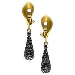 Alex Soldier Diamond Yellow Gold Drop Dangle Calla Earrings Ltd Ed Handmade
