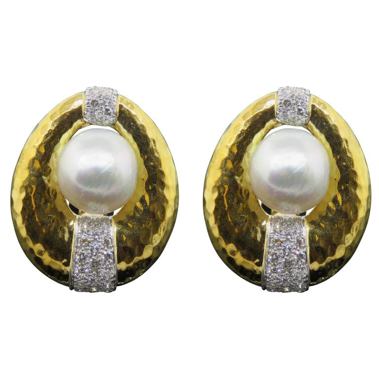 David Webb Pearl Diamond Hammered Gold Earrings