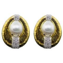 David Webb Pearl Diamond Hammered Gold Earrings