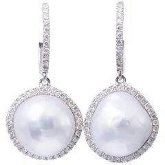 South Sea Pearl Baroque Diamond Halo Drop Earrings 0.64 Carats 18K White Gold