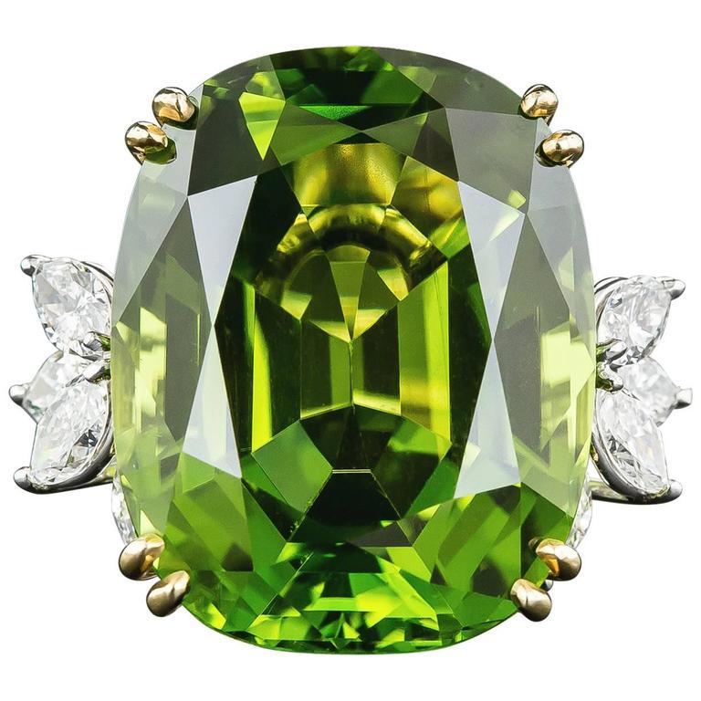56 Carat Peridot Diamond Platinum Ring