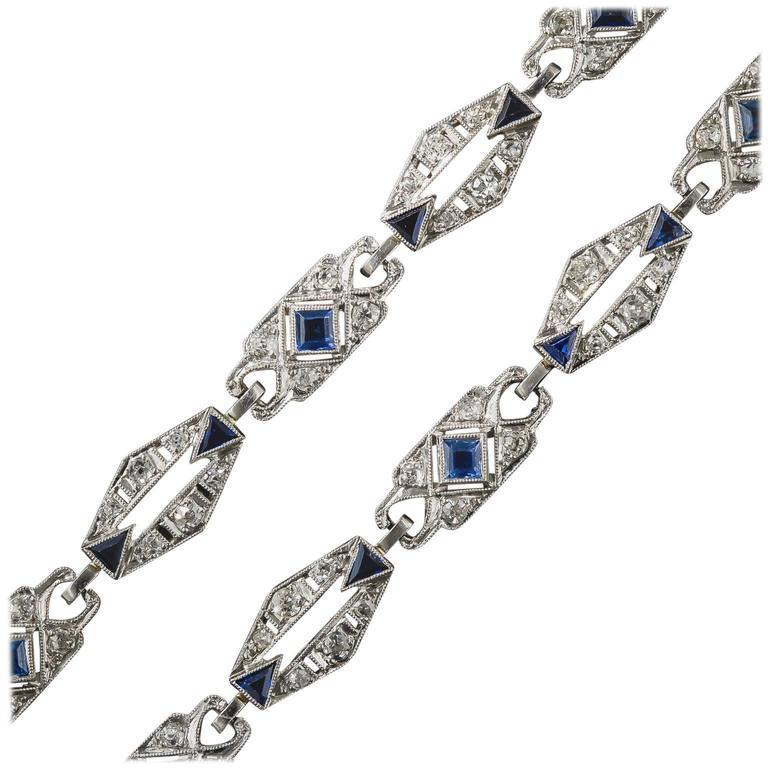 Art Deco Sapphire Diamond Platinum Convertible Bracelets Necklace For Sale