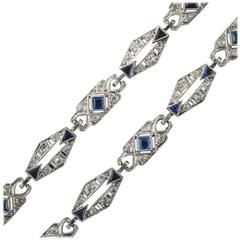 Art Deco Sapphire Diamond Platinum Convertible Bracelets Necklace
