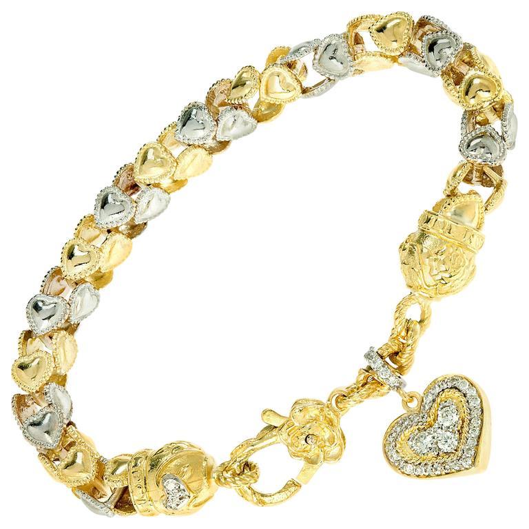 Stambolian Two-Tone Gold Heart Link Bracelet with Dangling Diamond Heart