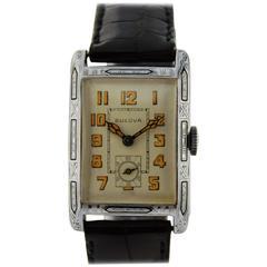 Bulova Solid Gold Enamel Inlaid Art Deco Manual Wristwatch