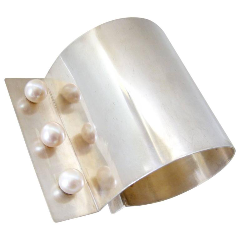 Heidi Abrahamson Pearl Sterling Silver Cuff Bracelet For Sale