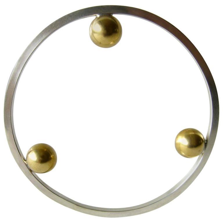 Heidi Abrahamson Sterling Silver Brass Bangle Bracelet