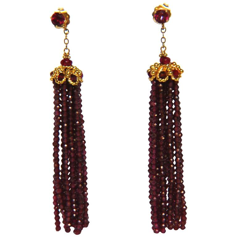 Marina J Amethyst Gold Tassel Earrings