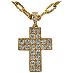 Cartier Diamond Gold Cross Pendant