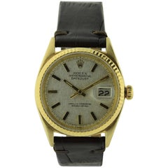 Rolex Yellow Gold Linen Dial Oyster Perpetual Datejust Watch, circa 1960s