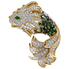 Tiffany & Co. Diamond Peridot Yellow Gold Fish Brooch