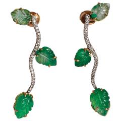 Marion Jeantet Engraved Emerald Leaves and Diamonds Earrings