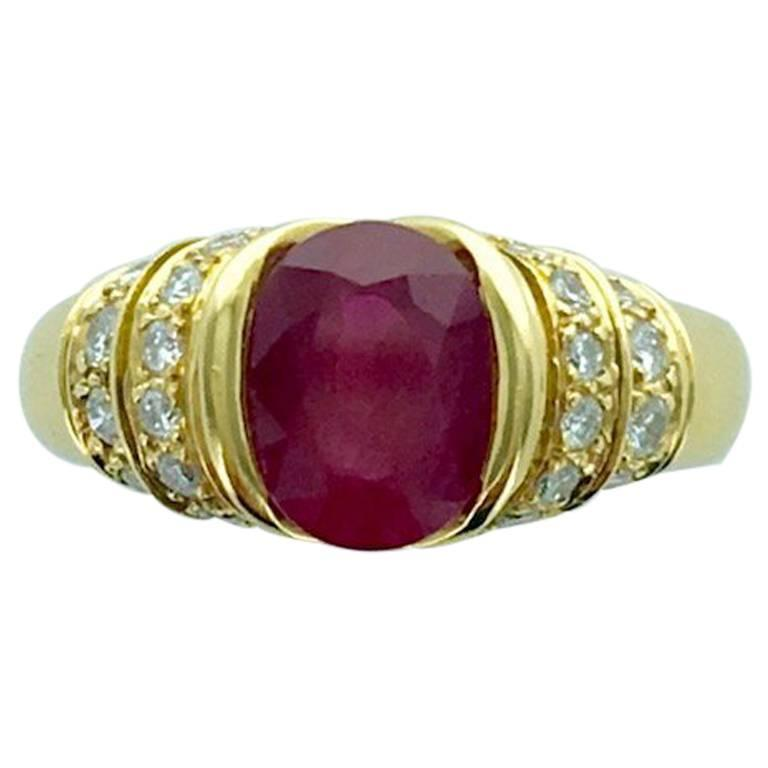 French Ruby Diamond Yellow Gold Ring