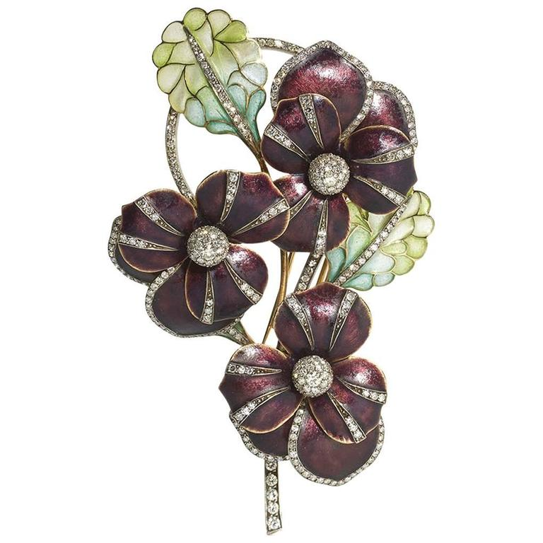 Enamel Diamond Gold Pansy Brooch For Sale
