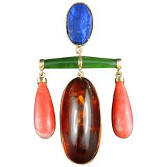 French Modernist Pendant with Lapis Lazuli, Amber, Coral and Jade, circa 1960