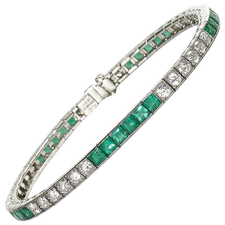 Emerald Diamond Platinum Line Bracelet