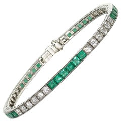 Emerald Diamond Platinum Line Bracelet