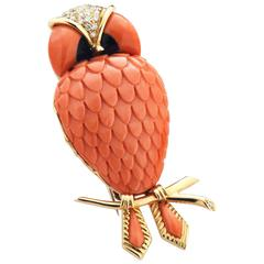 Coral Diamonds Yellow Gold Owl Broach by Ciaravolo in Italy