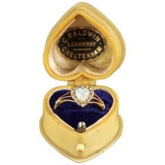 Antique Edwardian Opal Diamond Heart Ring 18 Carat in Original Heart Box, 1908