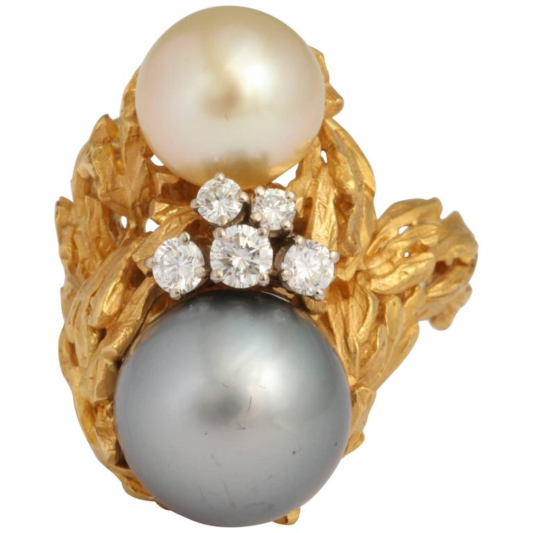 Gilbert Albert South Sea Pearl Diamond Gold Modernist Ring 1