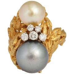 Gilbert Albert South Sea Pearl Diamond Gold Modernist Ring