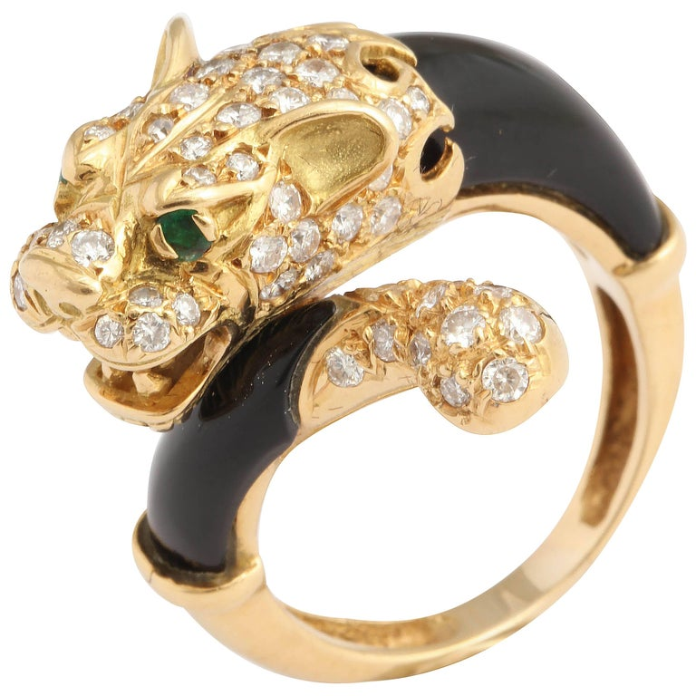 Black Onyx Gold and Diamond Lion Ring