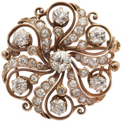 Victorian Diamond and Gold Pinwheel Pendant Brooch