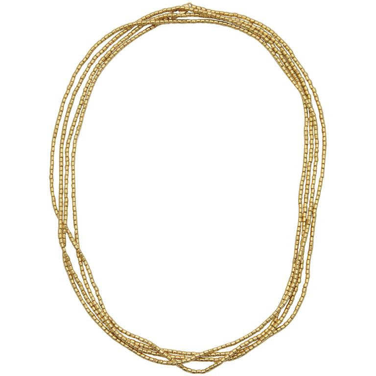 1980s Multi Strand Long Lariat Style Gold Pellets Bead Chain Necklace 1