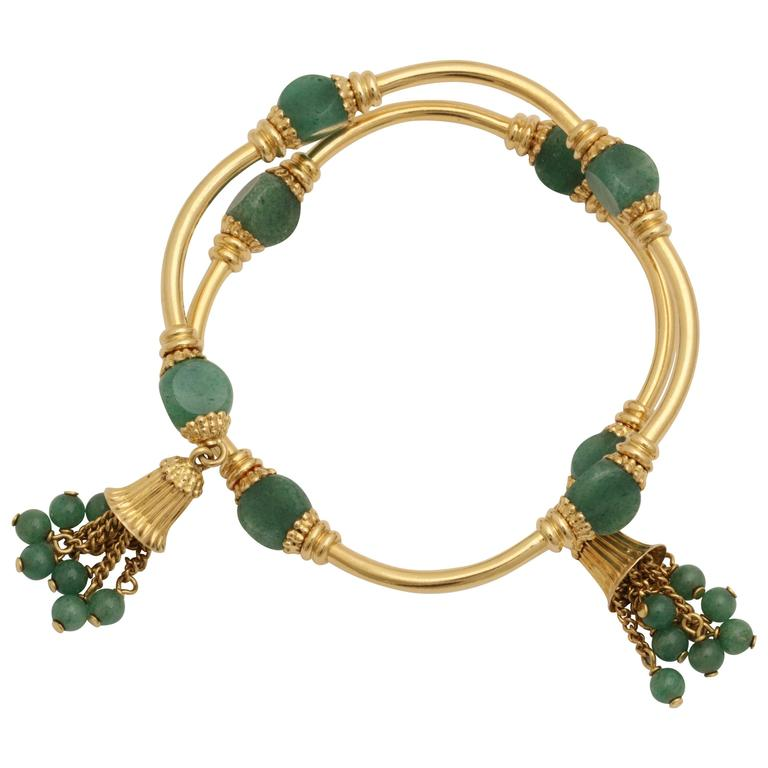 1970s Green Aventurine Gold Tassel Wrap Around Bracelet 1