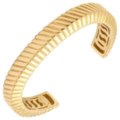 Tiffany & Co. Ridged Textured Open Back Gold Bangle Cuff Bracelet