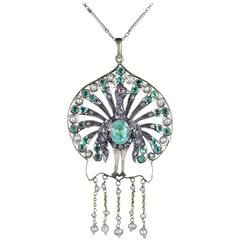 Antique French Victorian Peacock Emerald Pearl Diamond Necklace, circa 1880