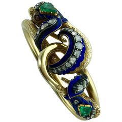 Antique Enamel Emerald Diamond Gold Entwined Snakes Bracelet