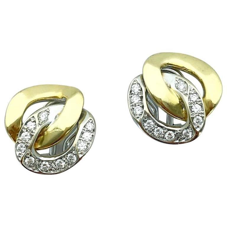 Bulgari Diamond Gold Earclips