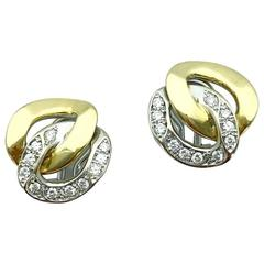 Bulgari Diamond Gold Earclips