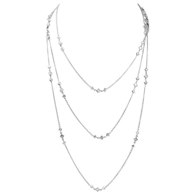 Long Princess Diamond by the Yard Diamond Gold Chain Necklace 1
